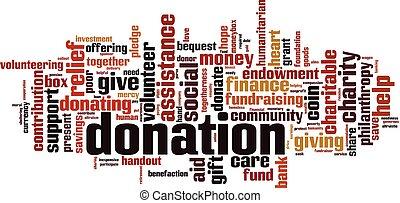Donation word cloud concept. Vector illustration