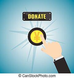 Donation Yen button - Man pushing Yen donate button. Giving...