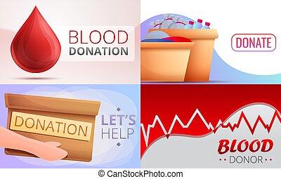Donations banner set, cartoon style