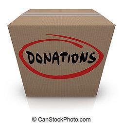 Donations Cardboard Box Food Charity Drive - The word...