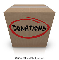 The word Donations on a cardboard box to illustrate a food or clothing drive for needy or homeless people or underprivileged in poverty stricken countries