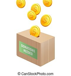 Donations needed sign on wooden box with gold coins