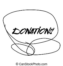 DONATIONS stamp on white background