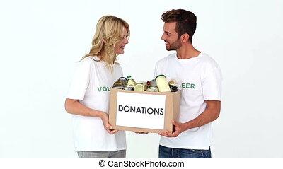 donations, tenue, volontaires, deux