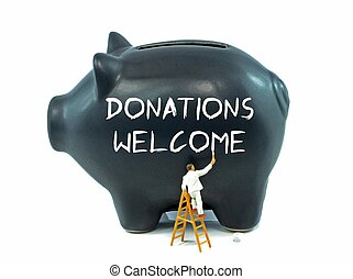 Donations Welcome on Piggy bank - Donations Welcome message...