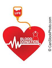 donativo sangre, concepto, ilustración, en, vector