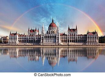 donau, budapest, parliament.with, -, reflexion