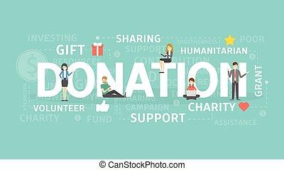 donazione, illustration., concetto