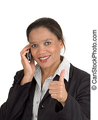 Woman on the phone making thumb up