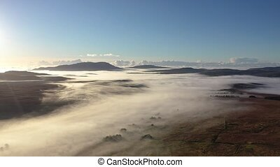 Donegal covered with fog from Crove upper to Teelin - Ireland.