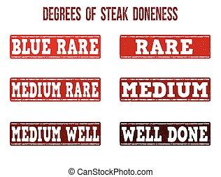 doneness, pieczęcie, komplet, stopnie, stek