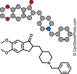 Donepezil Alzheimer's disease drug, chemical structure.