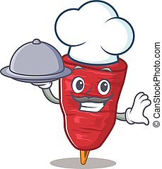 doner, alimento, caricatura, kebab, bandeja, personagem, servindo, cozinheiro