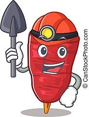 doner, caricatura, kebab, capacete, ferramenta, desenho, conceito, mineiro