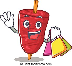 doner, caricatura, kebab, famosos, ricos, personagem, shopping, segurando, sacolas