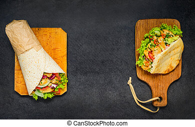 Doner Kebab and Shawarma Sandwich with Copy space