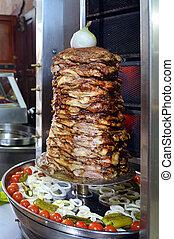 doner, kebab, assado, ligado, girar, cuspir