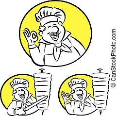 doner kebab cook - Vector illustration of cook gesturing ok ...