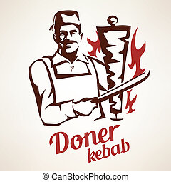 doner kebab illustration, outlined symbol in vintage style -...