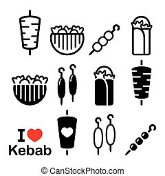 Doner kebab, kebab in wrap or pita bread, shish and adana kebab skewers icons set