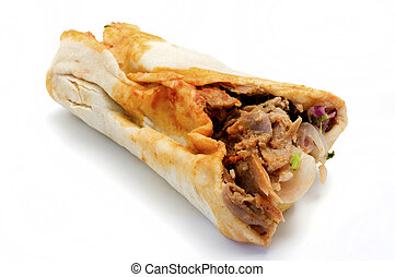 Doner kebab on a white background