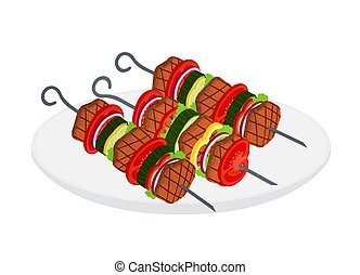 Doner kebab, shashlik in cartoon flat style. Tasty roasted meat.