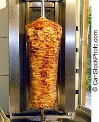 doner kebab shop with grilled lamb on a spit
