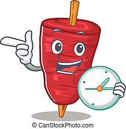 doner, kebab, sorrindo, relógio, desenho, mascote, conceito