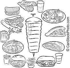 Doner Kebab - Vector illustration of doner kebab collection...