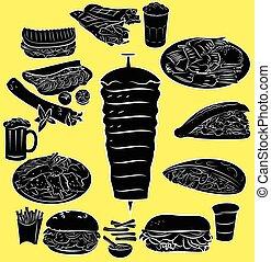Doner Kebab - Vector illustration of doner kebab collection ...
