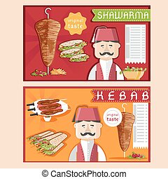 doner kebab vector illustration with chef,shawarma and salad