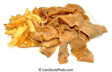 Doner Meat And Chips - Portion of doner meat and chips take ...