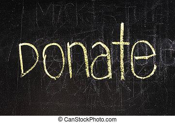doneren, geschreven, op, bord