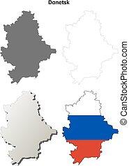 Donetsk oblast blank detailed outline map set - Russian version