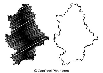 Donetsk Oblast (Administrative divisions of Ukraine, Oblasts of Ukraine) map vector illustration, scribble sketch Donechyna map
