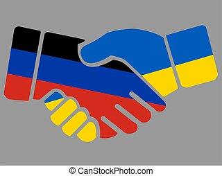 Donetsk Peoples Republic and Ukrainian flags Handshake vector illustration Eps 10