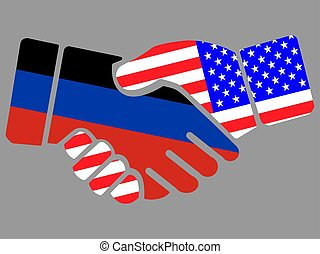 Donetsk Peoples Republic and USA flags Handshake vector illustration Eps 10