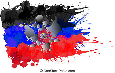 Donetsk People's Republic flag made of colorful splashes
