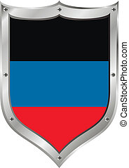 Shield with flag of Donetsk People's Republic.