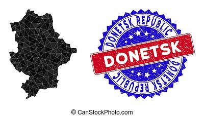 Donetsk Republic map polygonal mesh with filled triangles, and textured bicolor stamp imitation. Triangle mosaic Donetsk Republic map with mesh vector model, triangles have variable sizes,