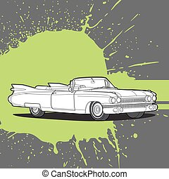 donker, auto, retro, achtergrond