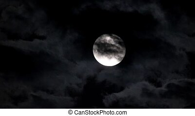 donker, avond lucht, maan