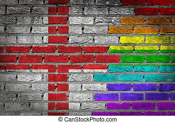 donker, baksteen muur, -, lgbt, rechten, -, engeland