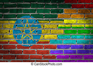 donker, baksteen muur, -, lgbt, rechten, -, ethiopië