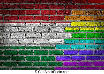 donker, baksteen muur, -, lgbt, rechten, -, hongarije