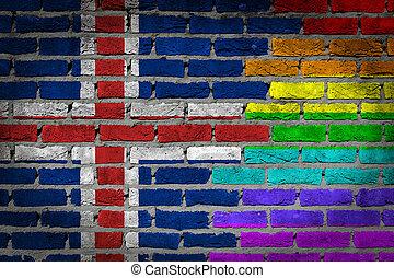donker, baksteen muur, -, lgbt, rechten, -, ijsland