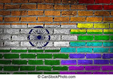 donker, baksteen muur, -, lgbt, rechten, -, india