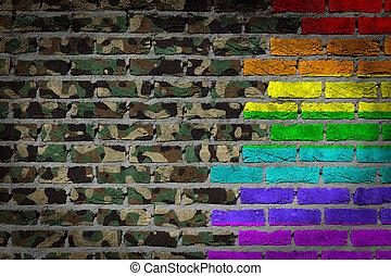 donker, baksteen muur, -, lgbt, rechten, -, leger,...