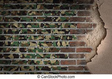 donker, baksteen muur, met, pleister, -, leger, camouflage