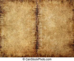 donker, bevlekte, unfolded, boek, papier